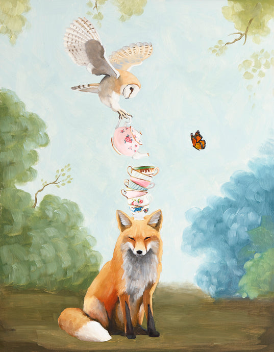 Fox and Barn Owl w/ Stack of Teacups - 8x10 print