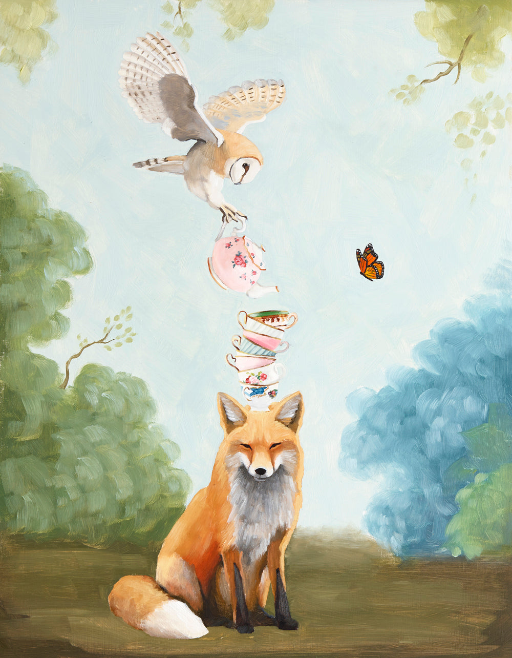 Oil painting by Kim Ferreira; Fox and owl at tea time
