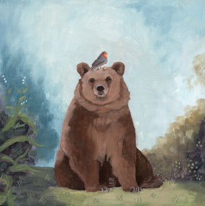 Painting by Kim Ferreira featuring brown bear with European Robin on his head. Put a bird on it!