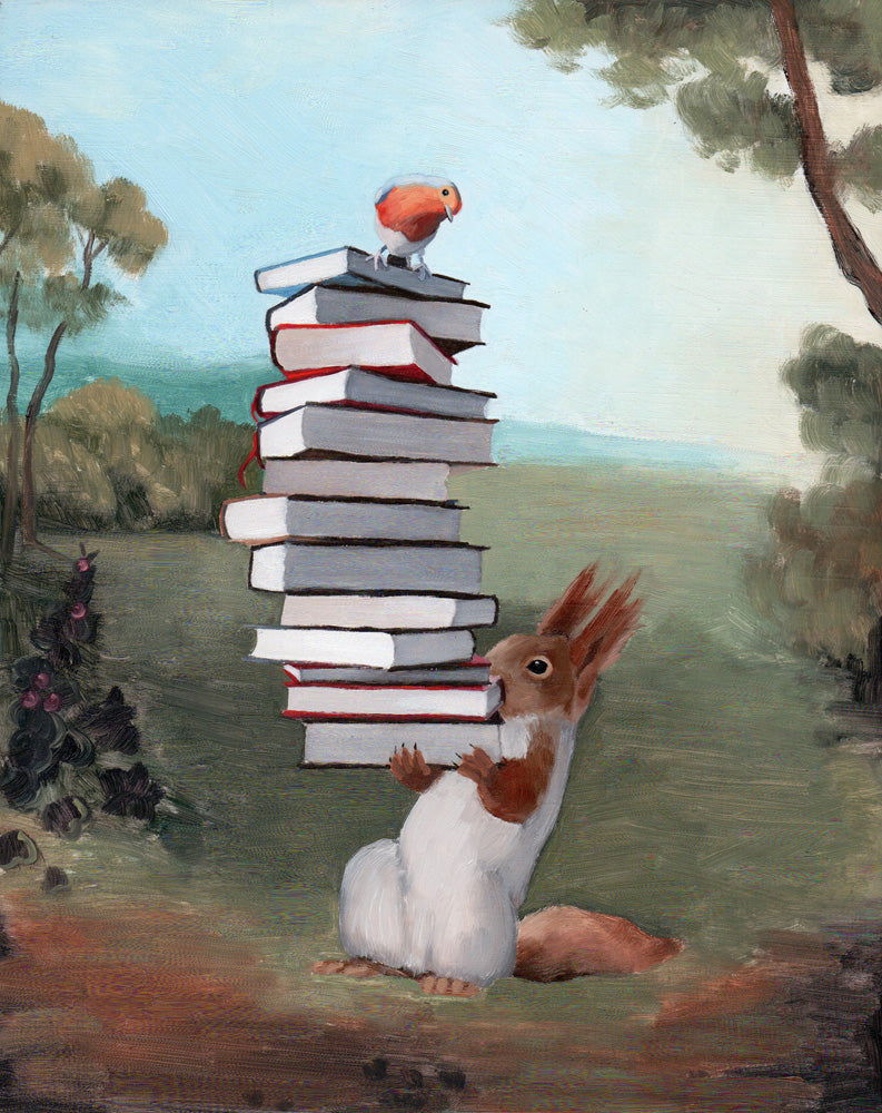 Squirrel w/ Books - 10x8 original painting