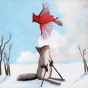 Squirrel Skiing w/ Cardinal - 6x6 original painting