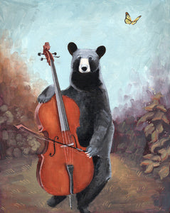 Bear w/ Cello - 10x8 original painting