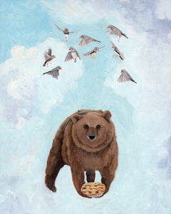 Bear w/ Cherry Pie - 10x8 original painting