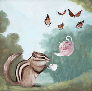 Chipmunk w/ Teapot and Butterflies - 6x6 original painting