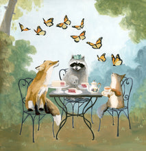 Load image into Gallery viewer, Squirrel, Raccoon, Fox Garden Party - 8x8 print