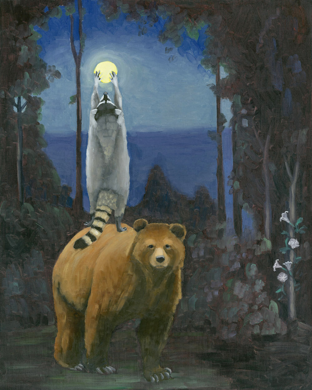 Bear and Raccoon w/ Full Moon - 8x10 Limited Edition Print