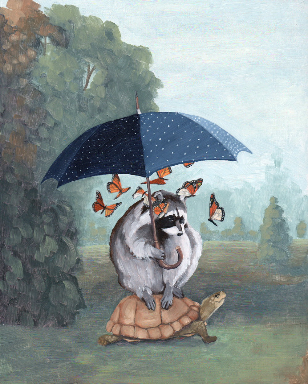 Raccoon w/ Turtle and Butterflies Under Umbrella - 8x10 print