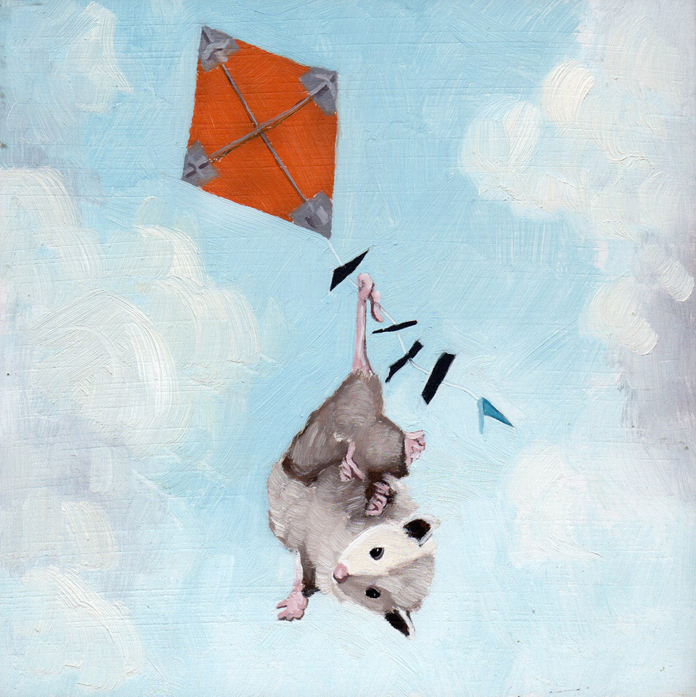 Opossum w/ Kite - 6x6 original painting