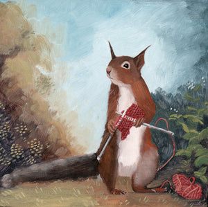 Squirrel Knitting - 6x6 original painting