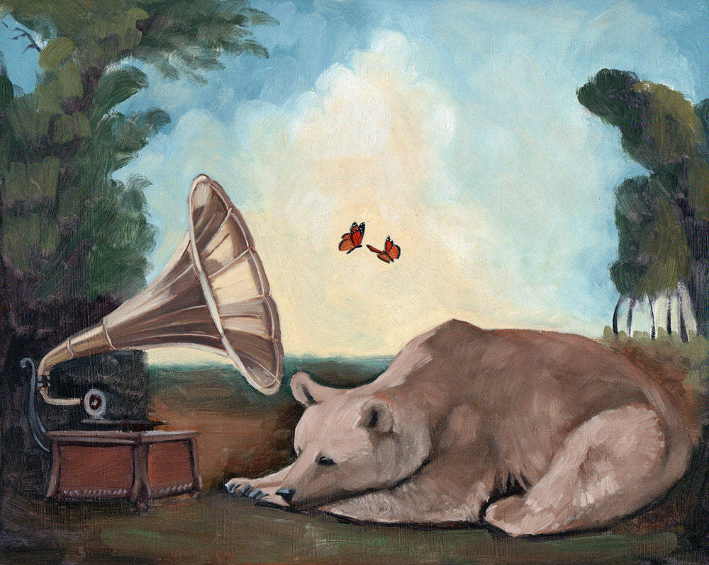 Bear w/ Phonograph and Butterflies - 8x10 original painting
