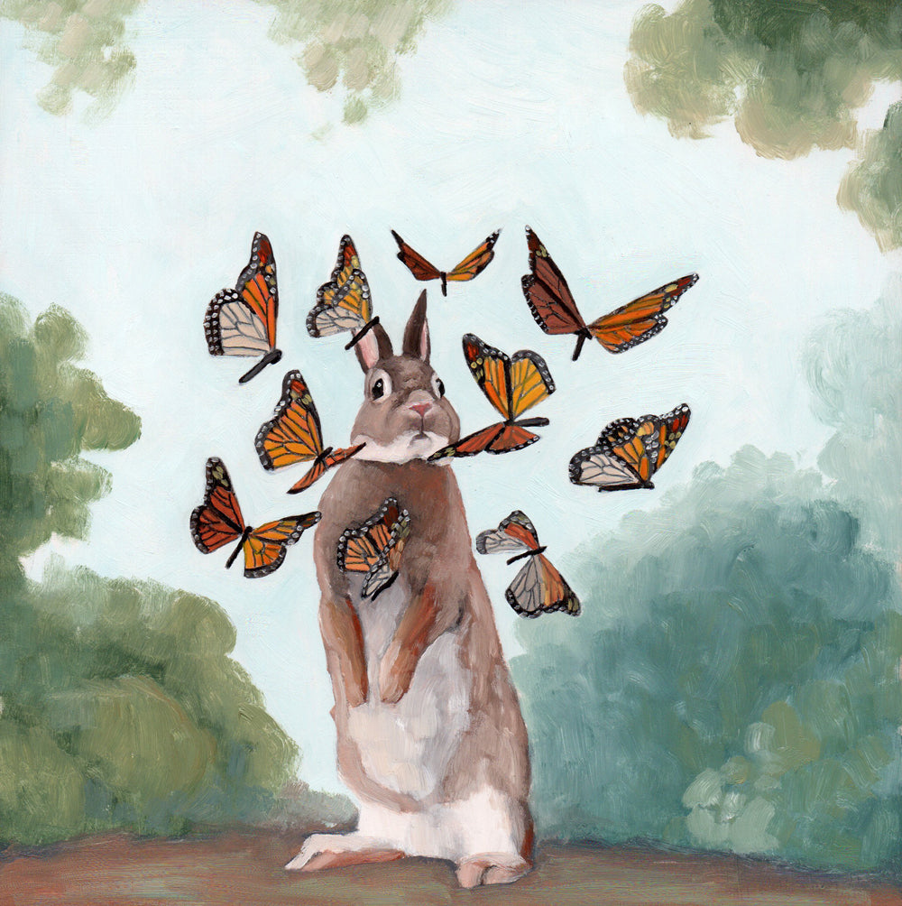Rabbit w/ Monarch Butterflies - 8x8 Limited Edition Print