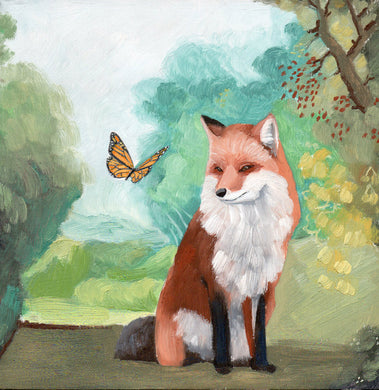 Fox w/ Monarch Butterfly - 6x6 original painting