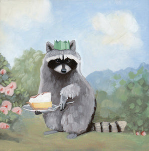 Raccoon w/ Lemon Meringue Pie - 6x6 original painting