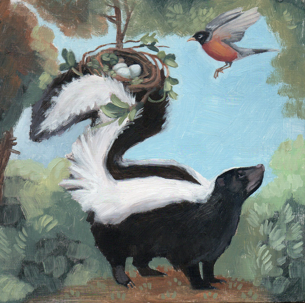 Skunk w/ Bird Nest - 6x6 original painting