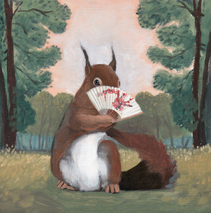 Squirrel w/ Fan - 6x6 original painting