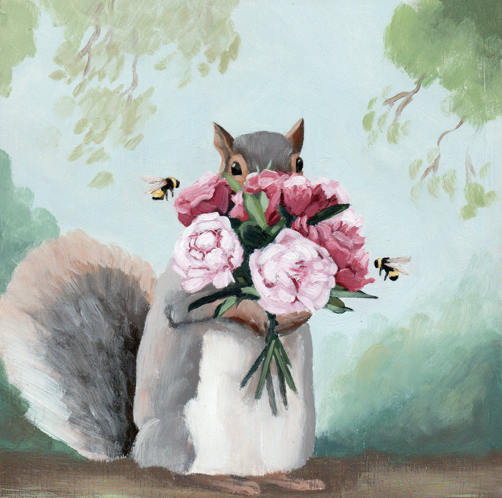 Squirrel w/ Peonies - 6x6 original painting