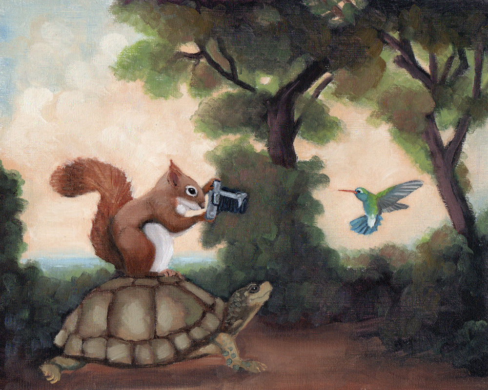 Turtle and Squirrel w/ Camera - 8x10 Limited Edition Print