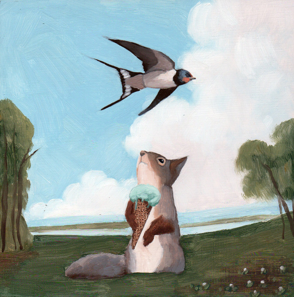 Swallow & Squirrel w/ Ice Cream - 6x6 original painting