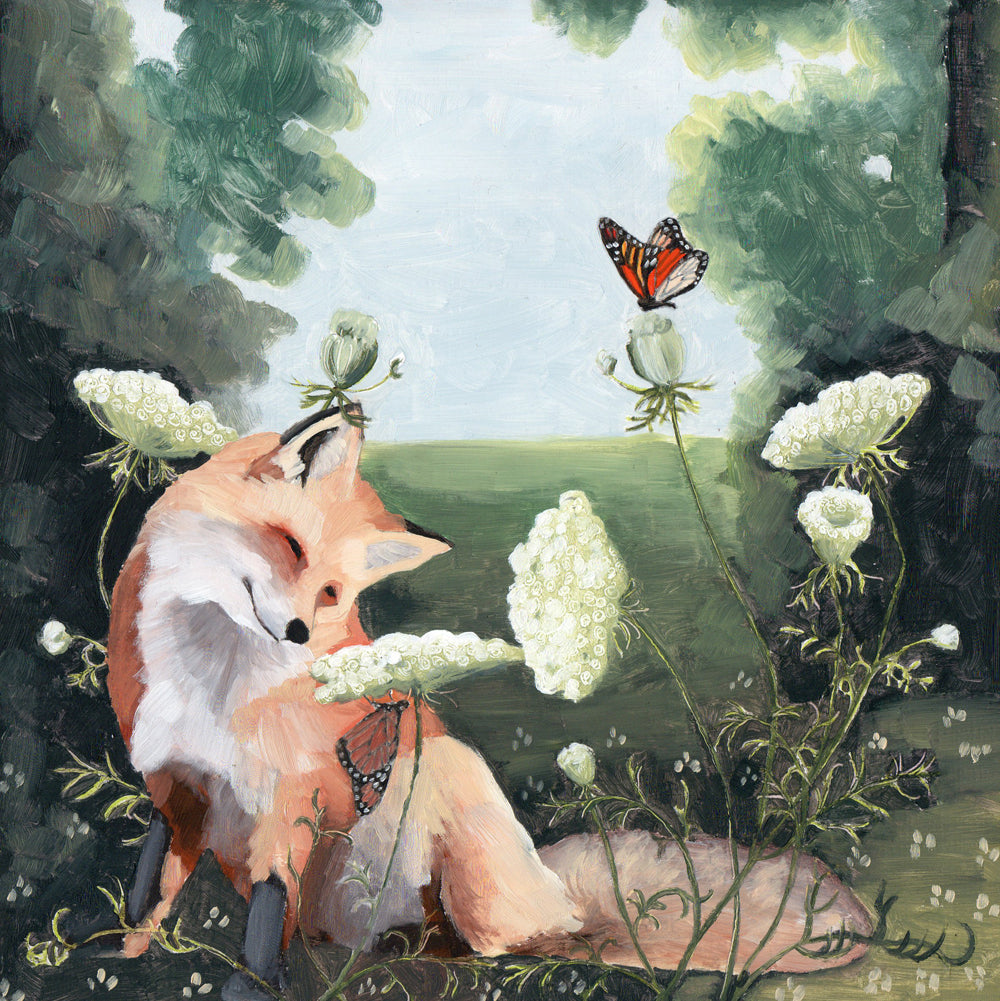 Fox w/ Queen Anne's Lace - 8x8 Limited Edition Print