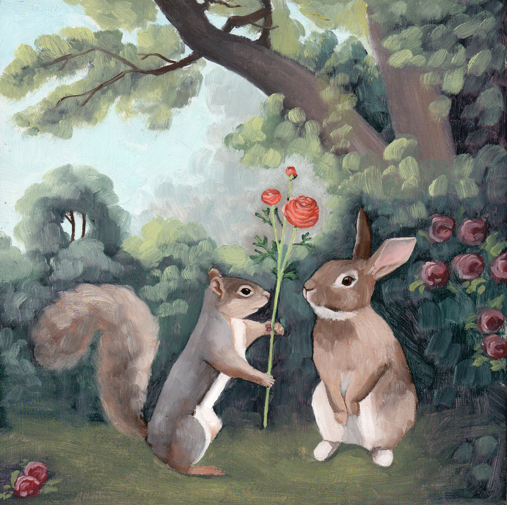 Rabbit & Squirrel w/ Ranunculus - 8x8 original painting