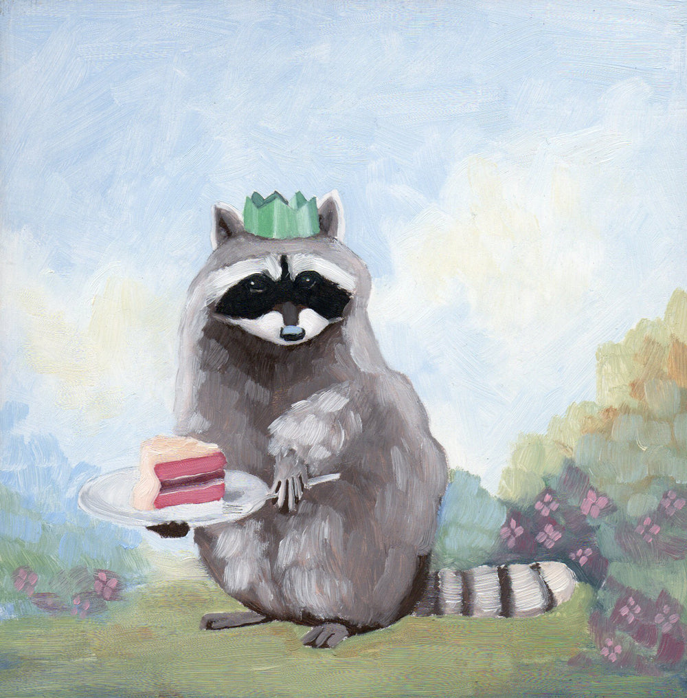 Raccoon w/ Raspberry Entremet - 6x6 original painting
