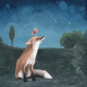 Fox & Bird w/ Shooting Stars - 8x8 original painting