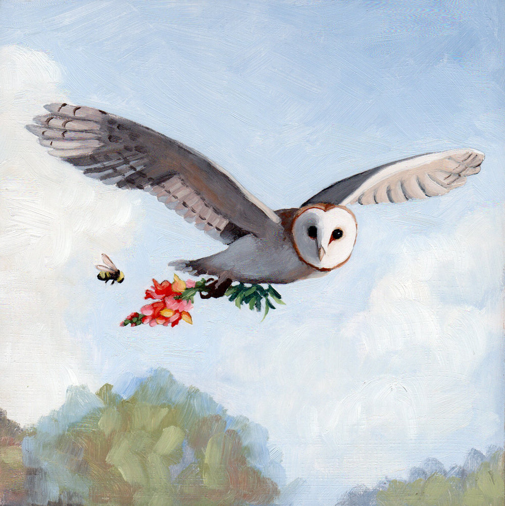 Barn Owl w/ Snapdragon - 6x6 original painting