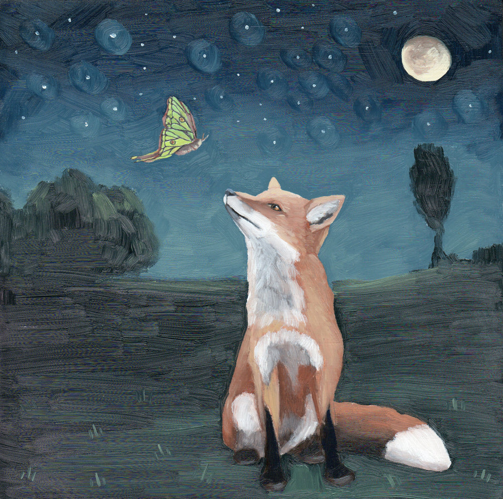 Fox w/ Spanish Moon Moth - 8x8 original painting