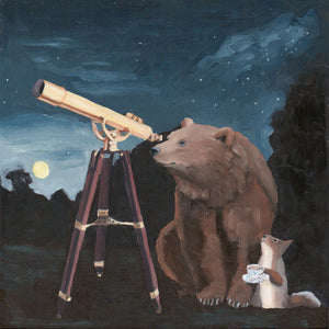 Bear and Squirrel w/ Telescope - 8x8 Limited Edition Print