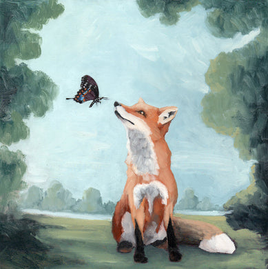 Fox w/ Butterfly - 8x8 original oil painting