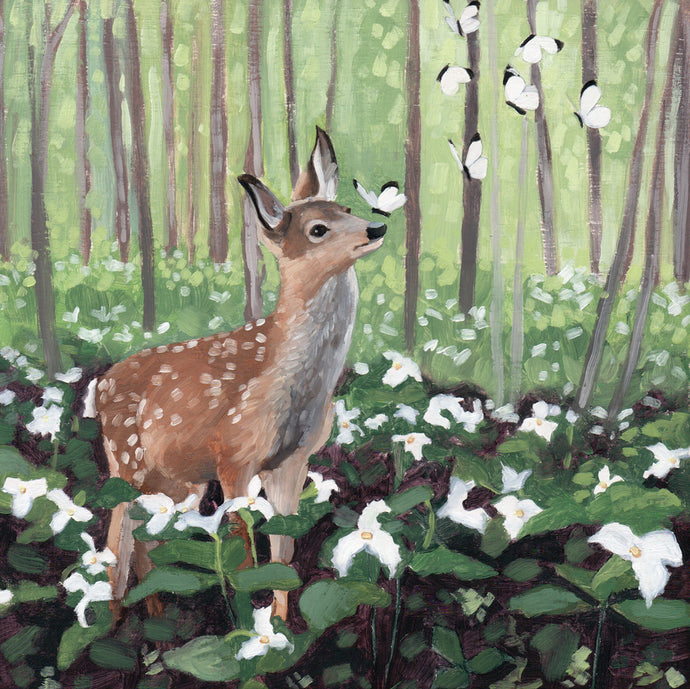 Deer w/ Butterflies and Trillium - 8x8 Limited Edition Print