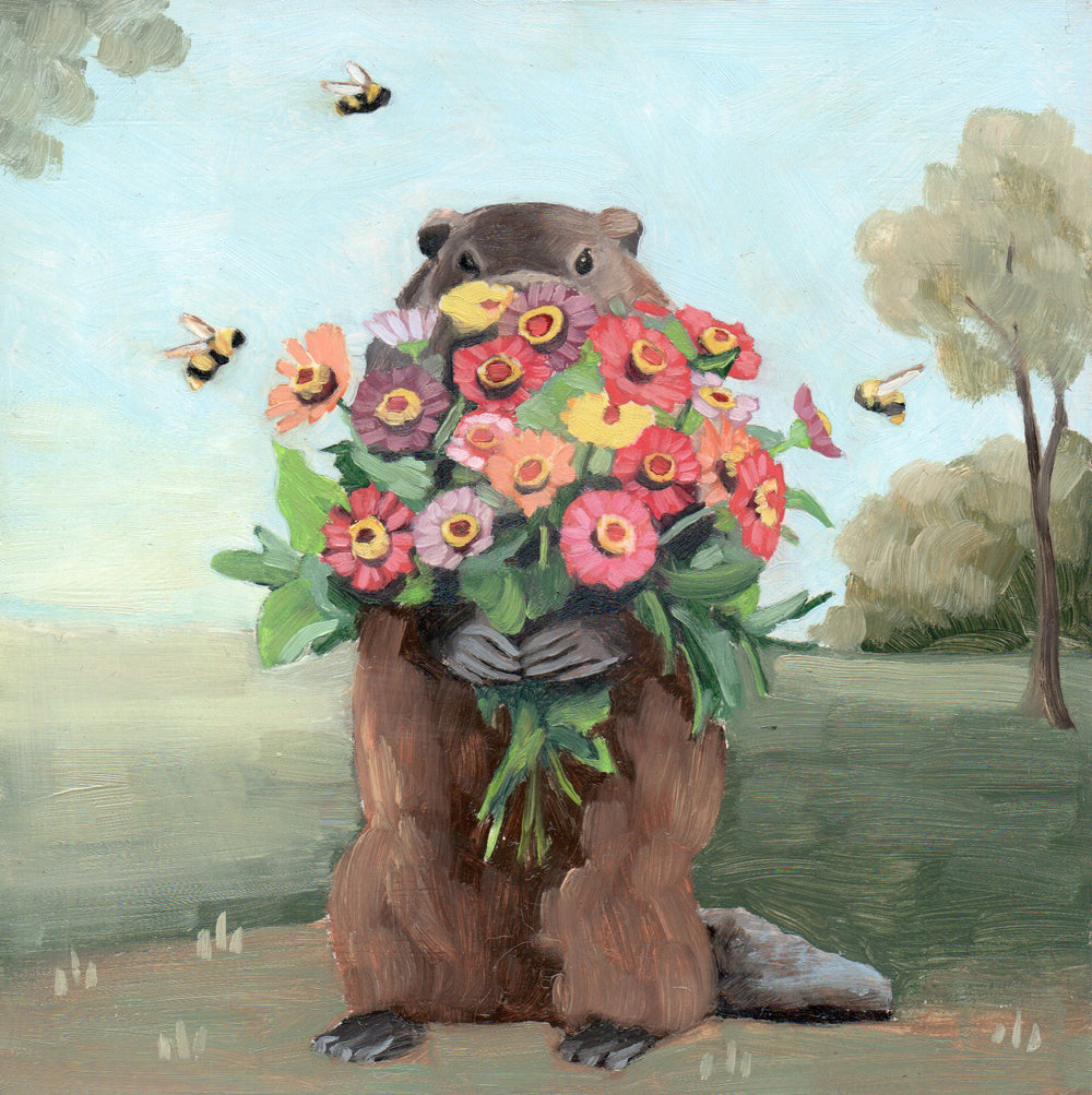 Groundhog w/ Zinnias - 6x6 original painting