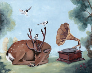 Deer w/ Phonograph and Chickadees - 8x10 original painting