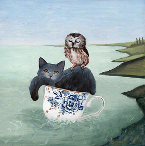 Owl & Pussycat - 8x8 original painting