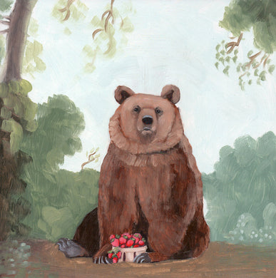 Bear w/ Strawberries - 8x8 original oil painting