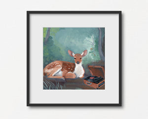 Deer Listening to Record - Art Print