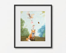 Load image into Gallery viewer, Fox and Barn Owl Teatime - Art Print