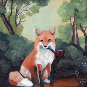 Fox w/ Pipe - 8x8 Limited Edition Print