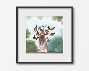 Rabbit and Monarch Flutter - Art Print
