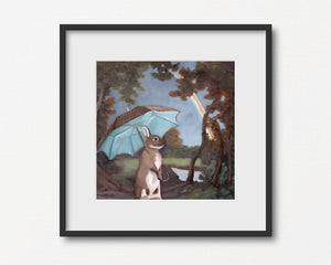 Rabbit w/ Umbrella and Rainbow - Art Print