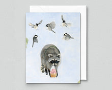 Load image into Gallery viewer, Chickadees and Raccoon w/ Cupcake - Blank Greeting Card