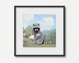 Raccoon w/ Lemon Meringue Pie - Art Print
