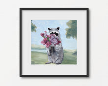 Load image into Gallery viewer, Raccoon Smelling Lilacs - Art Print