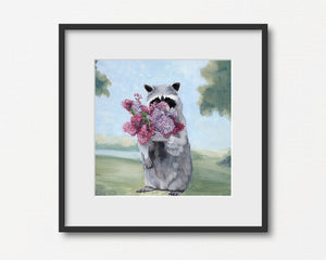Raccoon Smelling Lilacs - Art Print