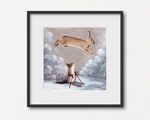 Load image into Gallery viewer, Winter Rabbit and Squirrel Skiing - Art Print