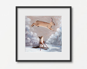 Winter Rabbit and Squirrel Skiing - Art Print