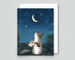 Squirrel w/ Cup of Tea - Blank Greeting Card