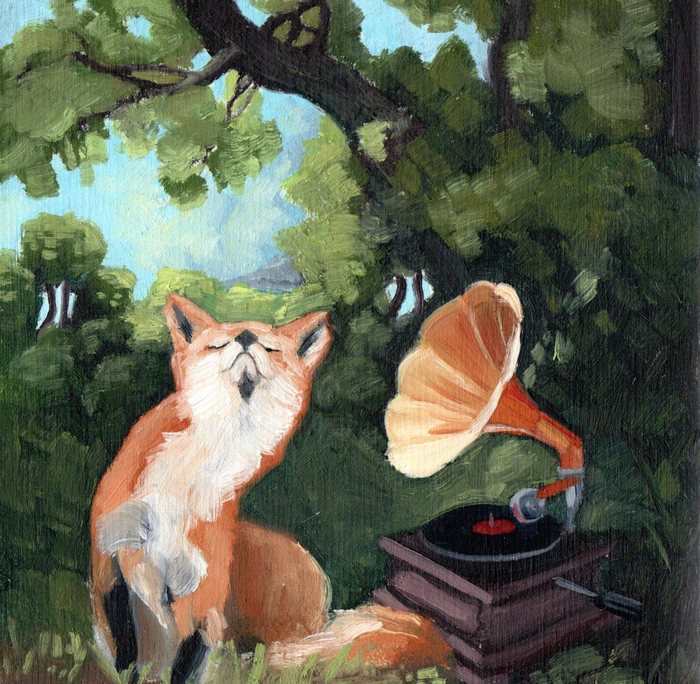 Fox w/ Phonograph - 8x8 Limited Edition Print