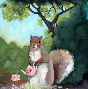 Squirrel w/ Teapot - 8x8 Limited Edition Print