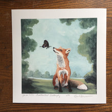 Load image into Gallery viewer, Fox w/ Swallowtail Butterfly - 8x8 Limited Edition Print